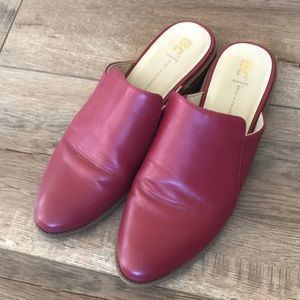 BC footwear red leather mules